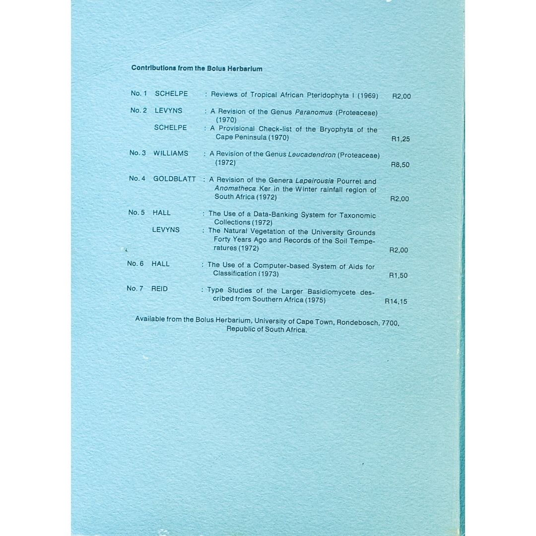 Contributions from the bplus herbarium No 8 Part 1 b
